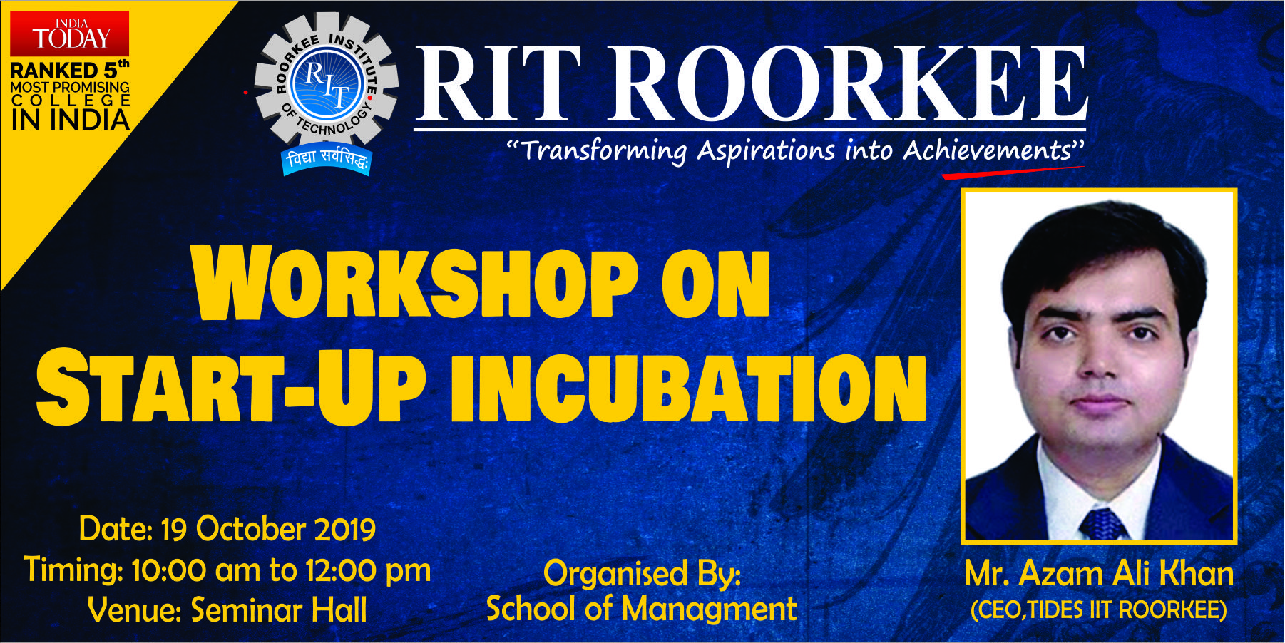 """Workshop on """"Start up and Incubation"""" at RIT"""