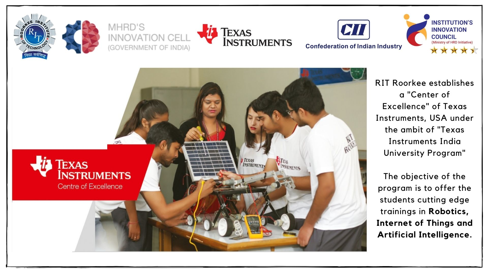 RIT is Centre of Excellence - Texas Instruments Innovation Lab